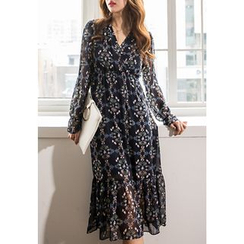 REDOPIN - Wrap-Front Pattern Long Dress