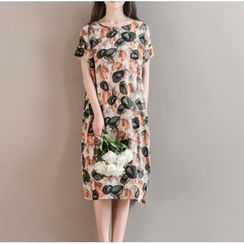 Clover Dream - Short-Sleeve Printed A-Line Dress