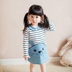 Baby Dottie - Kids Long-Sleeve Striped Panel Dress