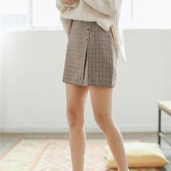 Hanme - Buttoned Plaid A-Line Skirt