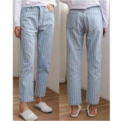 Sienne - Striped Washed Jeans
