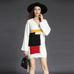 Porta - Long-Sleeve V-Neck Knit Dress