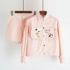TOJI - Set: Striped Button Jacket + Shorts