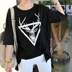 Ranee - 3/4-Sleeve Deer-Print T-Shirt