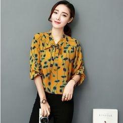 Sienne - Flower Print Tie Neck Chiffon Shirt
