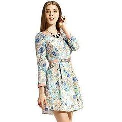 O.SA - Flower-Print Pleated A-Line Dress