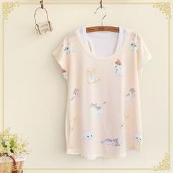 布衣天使 - 套裝: 小貓印花短袖T裇 + 背心
