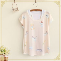 Fairyland - Set: Cat Print Short-Sleeve T-Shirt + Tank Top