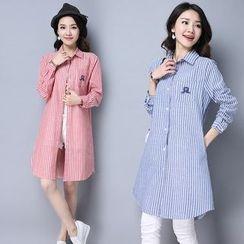 Yeeya - 細條紋長款襯衫