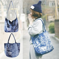 LightOn - Graffiti Denim Shopper Bag