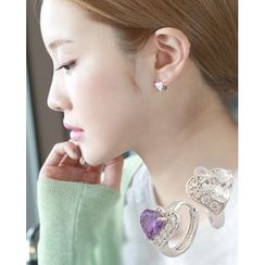 Miss21 Korea - Rhinestone-Heart Mini Hoop Earrings