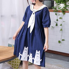 Moriville - Short-Sleeve Sailor Collar Dress