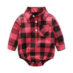 MOM Kiss - Baby Plaid Collared Bodysuit