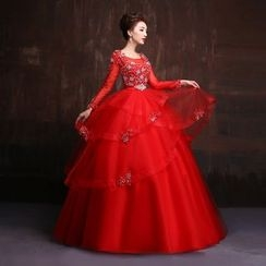 Coeur Wedding - Maternity Long-Sleeve Embellished Ball Gown