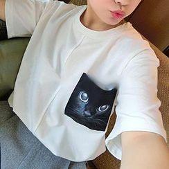 Fashion Street - Short-Sleeve Cat Print T-Shirt