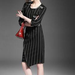 Alaroo - 七分袖條紋連衣裙