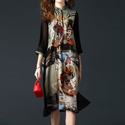 Alaroo - 中式领印花连衣裙