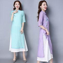 Diosa - 刺繡七分袖立領連衣裙