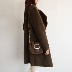 NIPONJJUYA - Wide-Lapel Open-Front Faux-Shearling Coat