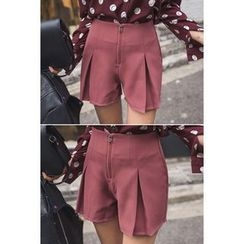migunstyle - Zip-Front Pleated Shorts