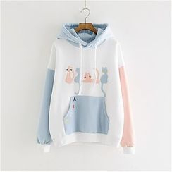 Angel Love - Cat Applique Color Block Hoodie