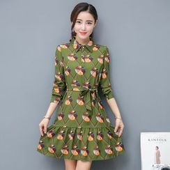 EFO - Printed Chiffon Collared Dress