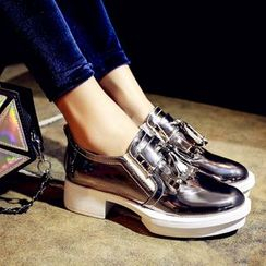 JY Shoes - Metallic Fringed Oxfords