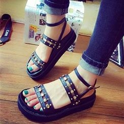 Mancienne - Studded Wedge Sandals