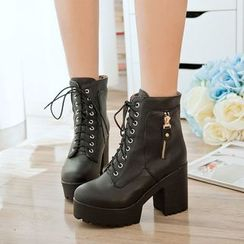 Shoes Galore - Chunky Heel Lace Up Boots
