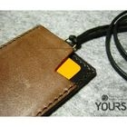 YOURS - Two-Tone Customizable Genuine Leather ID Holder with Strap