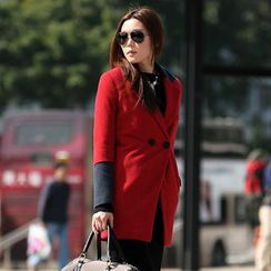 59 Seconds - Two-Tone Double-Buttoned Coat