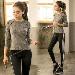 PUDDIN - Set: Long-Sleeve Sport T-Shirt + Striped Yoga Pants