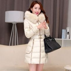 lilygirl - Furry Hooded Long Padded Jacket