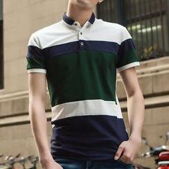 Evzen - Short-Sleeve Striped Polo Shirt
