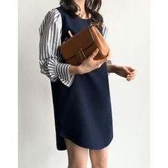 UPTOWNHOLIC - Inset Striped Shirt Dress