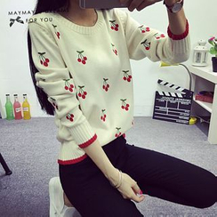 Maymaylu Dreams - Cherry Embroidered Sweater
