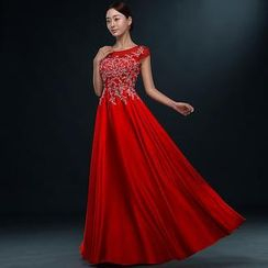 Royal Style - Cap Sleeves Embellished Evening Gown