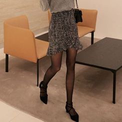 Seoul Fashion - Ruffle-Hem Tweed Mini Skirt