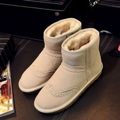 Gizmal Boots - Genuine Leather Fleece-lined Brogue Snow Boots