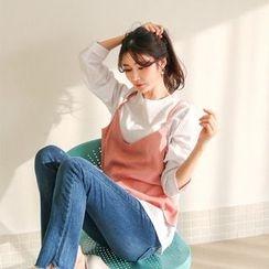 Seoul Fashion - Crewneck Inset Camisole T-Shirt