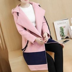 lilygirl - Color Block Hooded Coat