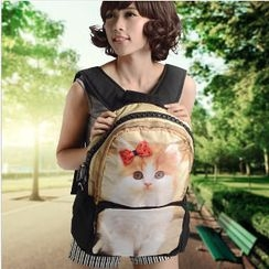 Bistar - Cat Printing Large Zipper 17 inch Backpack