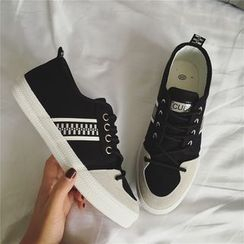 Hipsole - Lace-Up Panel Canvas Sneakers