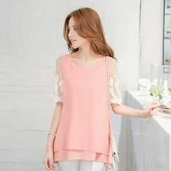 Tokyo Fashion - Lace Short-Sleeve Layer Top