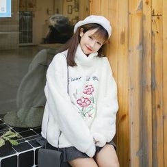 QZ Lady - Flower Embroidered Turtleneck Furry Pullover