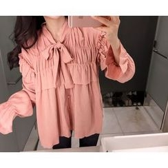 Marlangrouge - Tie-Neck Frilled Blouse