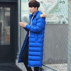 Besto - Furry Hooded Padded Long Coat