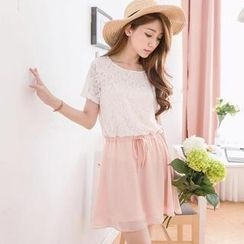 Tokyo Fashion - Lace-Panel Drawstring-Waist Chiffon Dress