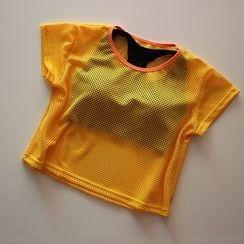 AT NINE - 短袖网纱运动上衣 / 套装: 运动文胸 + 短袖网纱上衣