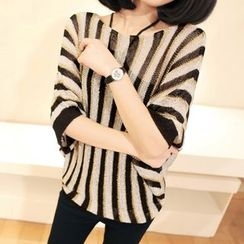 Simpure - Striped Sheer Knit Top